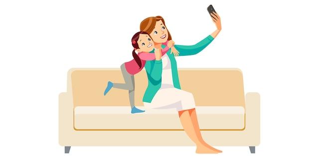 Mãe e filha fazendo selfie juntas Vetor Premium