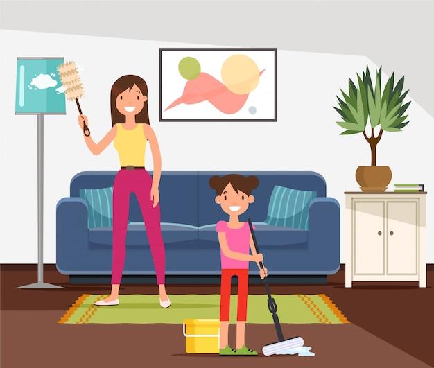 Mãe e filha fazendo tarefas domésticas