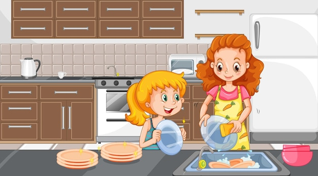Mãe e filha lavando pratos na cena da cozinha