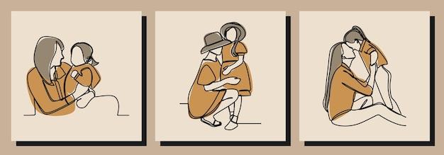 Mãe e filha meninas dia oneline vetor premium de arte em linha contínua