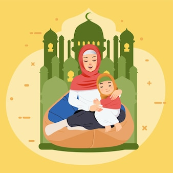 Mãe e filha muçulmanas usando hijab e sentando no pufe enquanto se abraçam