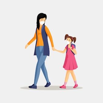 Mãe e filha na ilustração de respiradores. mulher e menina com máscaras protetoras isolaram personagens de desenhos animados plana. proteção contra poluição do ar, poeira, poluição atmosférica e emissões industriais