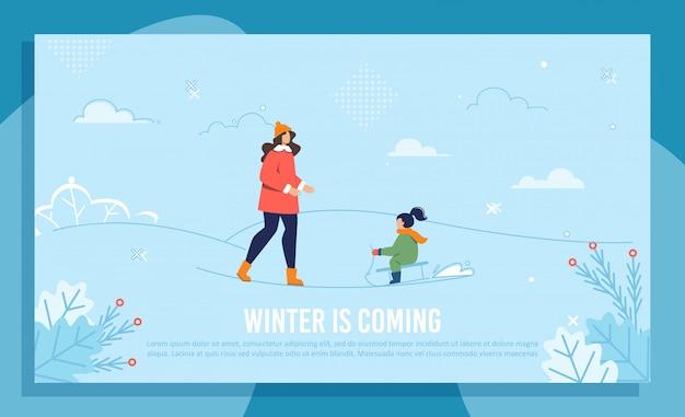 Mãe e filha no banner de design de inverno de trenó