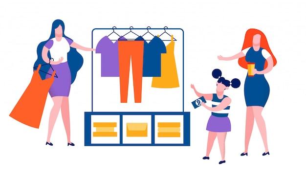 Mãe e filha passam tempo fazendo compras
