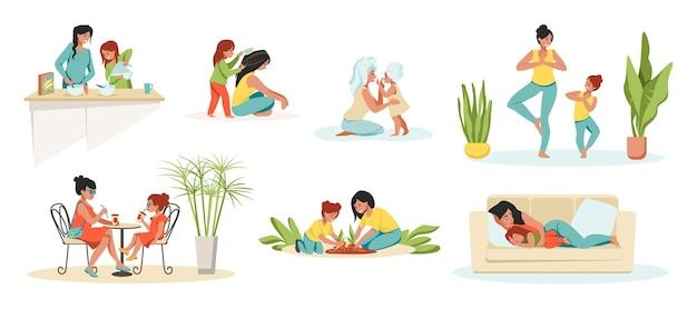Mãe e filha. personagens de desenhos animados de pais e filhos, mãe e filho passando um tempo juntos. conjunto de atividades familiares com ilustrações vetoriais, mãe e filha brincando, cozinhando na cozinha