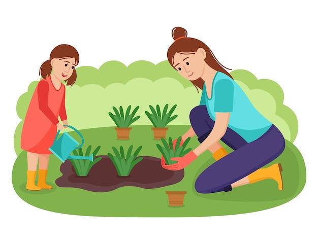 Mãe e filha plantam flores no jardim, ilustração vetorial