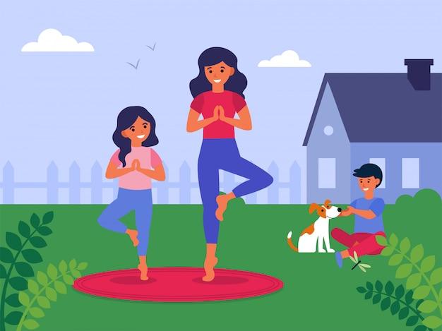Mãe e filha praticando ioga no quintal