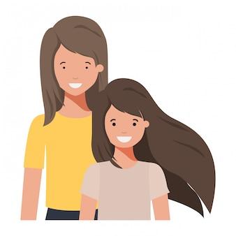Mãe e filha sorrindo personagem avatar