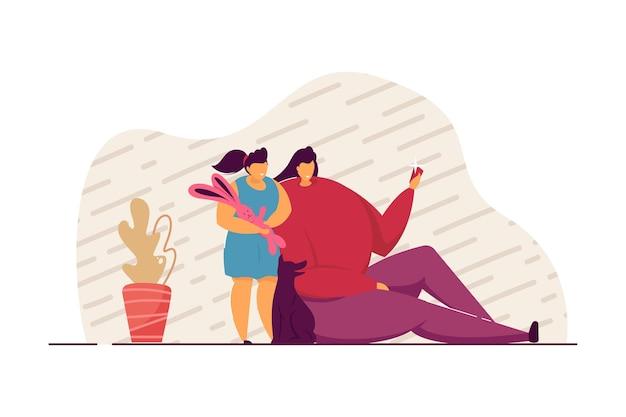 Mãe e filha tomando selfie juntas. mulher segurando o telefone, menina com coelhinho de pelúcia e ilustração em vetor plana cachorro. família, conceito de relacionamento para banner, design do site ou página inicial da web Vetor Premium