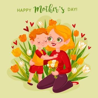 Mãe e filho abraçando cercado por flores