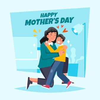 Mãe e filho abraçando na sala de estar