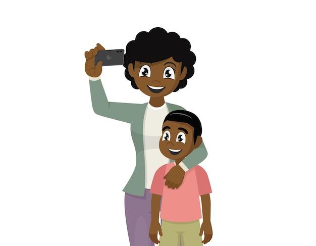 Mãe e filho africanos tirando uma selfie bonito dos desenhos animados