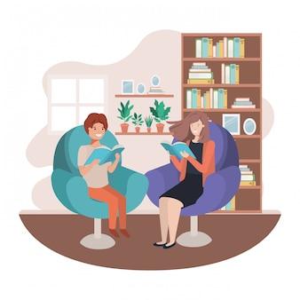 Mãe e filho com livro no personagem de avatar de sala de visitas