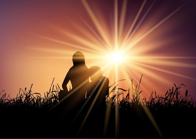 Mãe e filho contra o céu do sol
