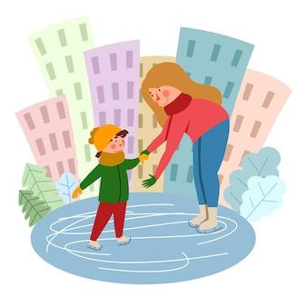 Mãe e filho estão patinando no gelo no contexto da cidade. esportes de inverno. ilustração em vetor em um estilo simples.