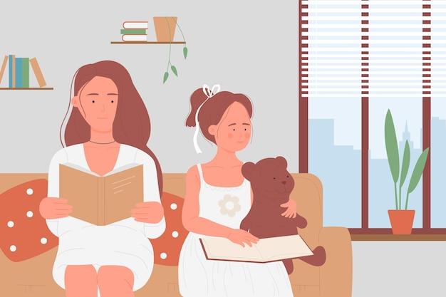 Mãe e filho lêem o livro juntos em casa, diversão em família e maternidade feliz