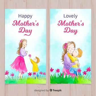 Mãe e filho no banner de aquarela de dia das mães de campo