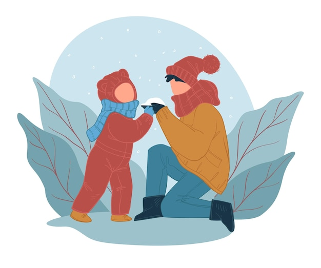 Mãe e filho passando tempo ao ar livre, mãe e filho fazendo bola de neve ao ar livre no parque. atividades familiares no inverno, criança e mamãe com neve. folhagem e folhagem. vetor em estilo simples