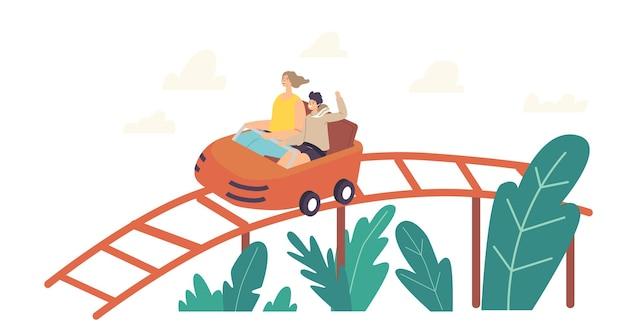 Mãe e filho personagens andando de montanha-russa, recreação familiar extrema em parque de diversões, atividade de fim de semana de carnaval na feira divertida, lazer, férias de verão relaxantes. ilustração em vetor desenho animado