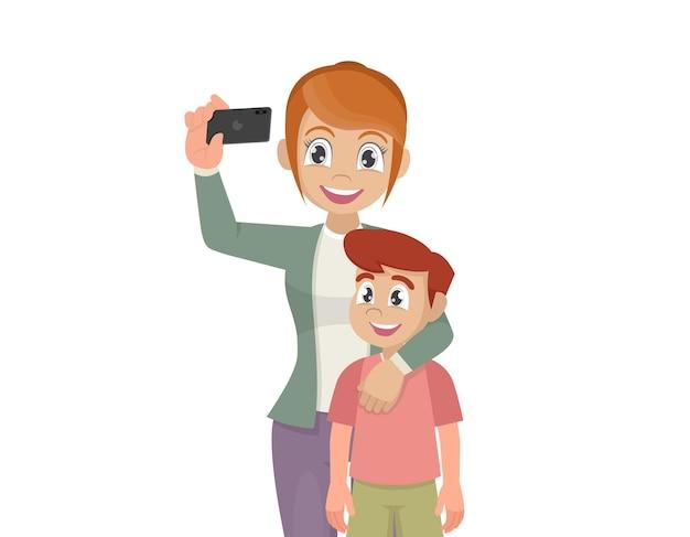 Mãe e filho tirando selfie bonito desenho