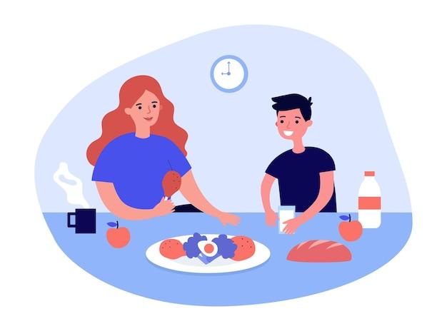 Mãe e filho tomando café da manhã familiar saudável juntos. mulher e criança sentada à mesa em ilustração vetorial plana de cozinha. conceito de dieta alimentar saudável para banner, design de site ou página de destino