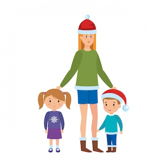 Mãe e filhos com roupas de natal