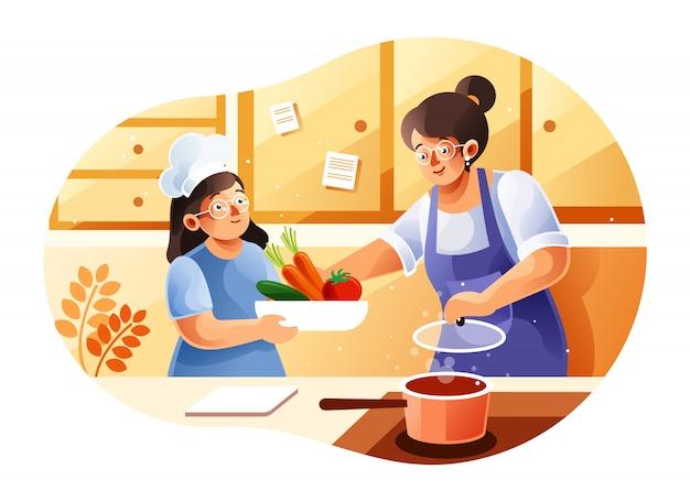 Mãe e filhos cozinhando na cozinha