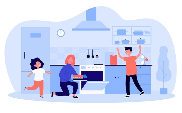 Mãe e filhos fazendo bolo na cozinha juntos. mulher tirando a torta do forno, feliz filho e filha ilustração em vetor plana. família, parentalidade, conceito culinário para banner, design de site