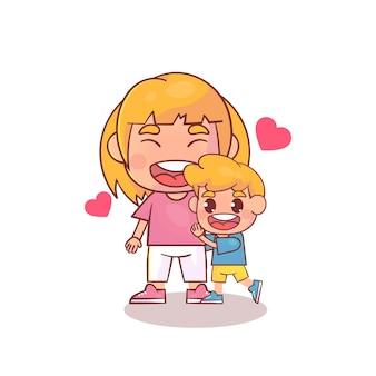 Mãe e filhos isolados no branco