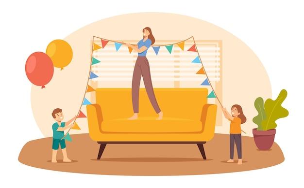 Mãe e filhos penduram garland para a festa em casa. família feliz decorar o quarto para aniversário ou férias. alegria de mamãe e filhos