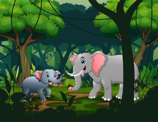 Mãe e jovens elefantes na selva