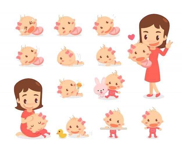 Mãe e menina. estágios de desenvolvimento do bebê. marcos do bebê.