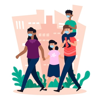 Mãe e pai andando com crianças com máscara médica
