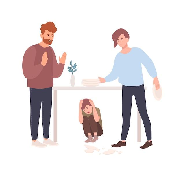 Mãe e pai brigando ou brigando na presença de uma criança escondida embaixo da mesa.
