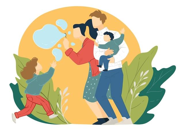 Mãe e pai brincando com a filha, soprando bolhas de sabão no parque. fins de semana em família ou férias ao ar livre, mãe e pai com filhos fora. menina perseguindo balões, ilustração em estilo simples.