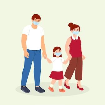 Mãe e pai caminhando seus filhos