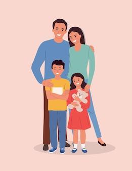 Mãe e pai com filhos. família feliz isolada. ilustração vetorial