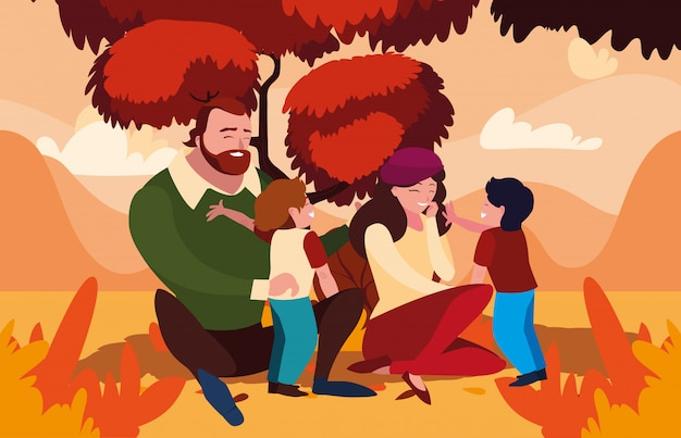 Mãe e pai com filhos no outono