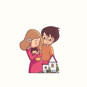 Mãe e pai e criança família feliz