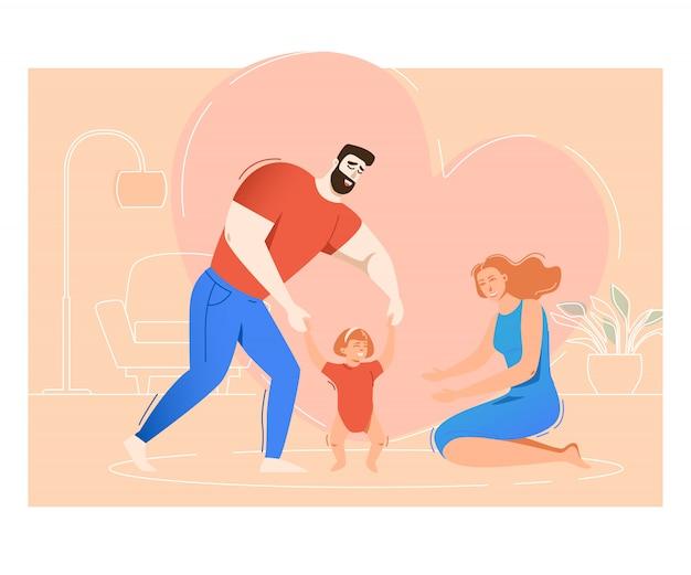 Mãe e pai, filha de treinamento para andar