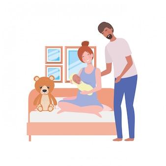 Mãe e pai isolados com bebê