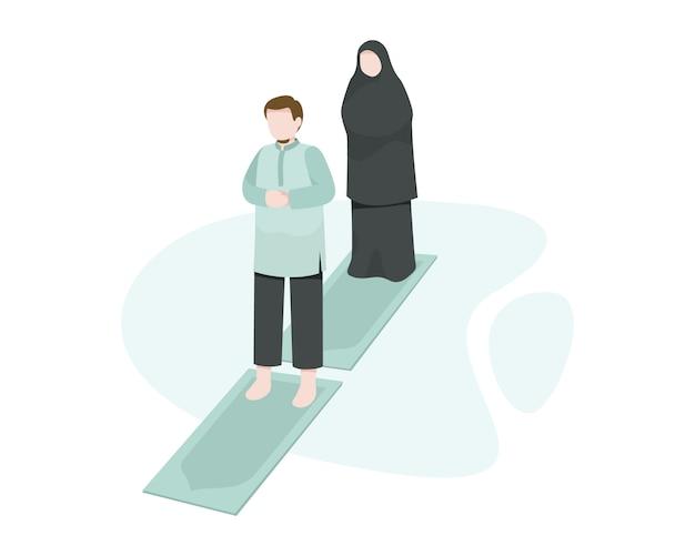 Mãe e pai muçulmano rezam ou salat juntos no tapete de oração em casa ilustração
