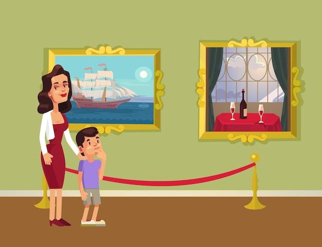 Mãe e personagem sol olhando fotos na galeria, ilustração plana dos desenhos animados