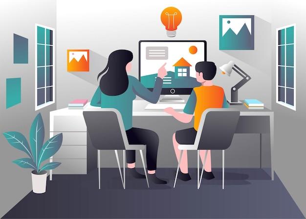 Mãe educando criança estudando no computador