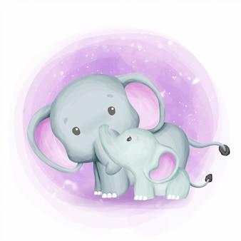 Mãe elefante com bebê fofo