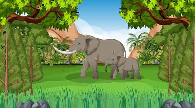 Mãe elefante e bebê em cena de floresta