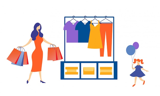 Mãe elegante e menina fazendo compras