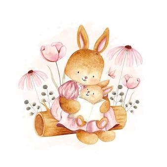 Mãe em aquarela e coelho bebê lendo no tronco