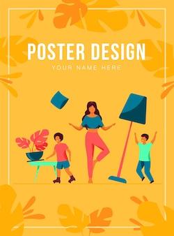 Mãe em pé calmo no meio da ilustração vetorial plana de quarto. crianças travessas e travessas criando o caos. conceito de paternidade e comportamento