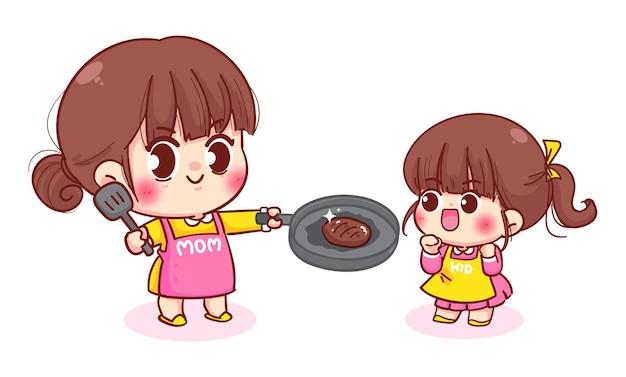 Mãe ensinando a filha a cozinhar ilustração de desenhos animados